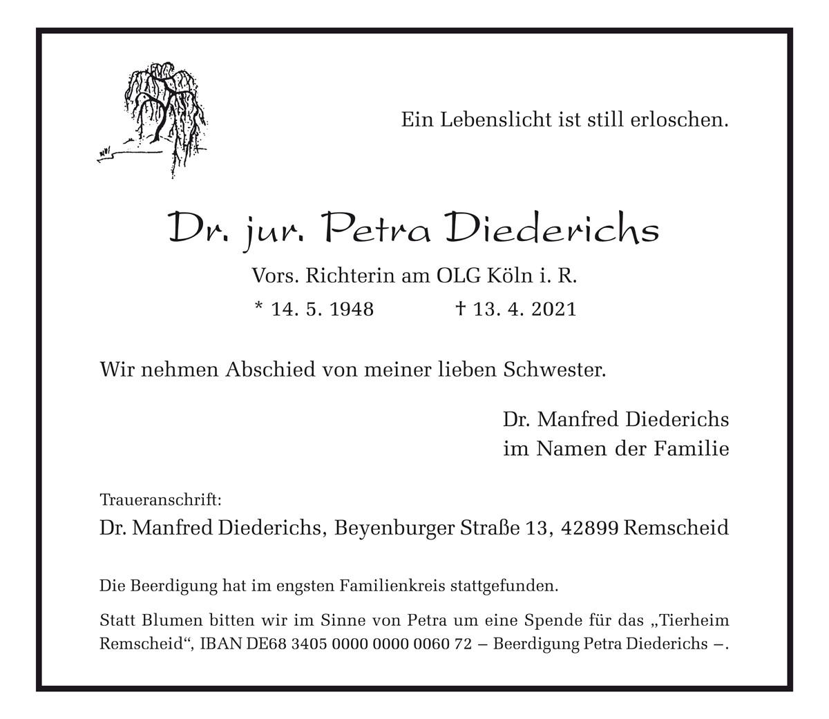 Dr. jur. Petra Diederichs – Vors. Richterin am OLG Köln i. R.