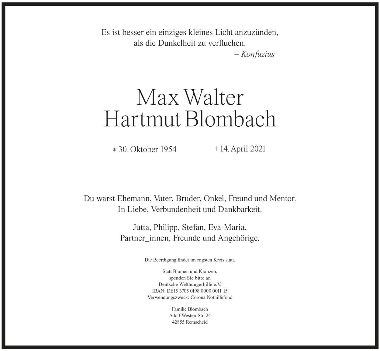 Max Walter Hartmut Blombach