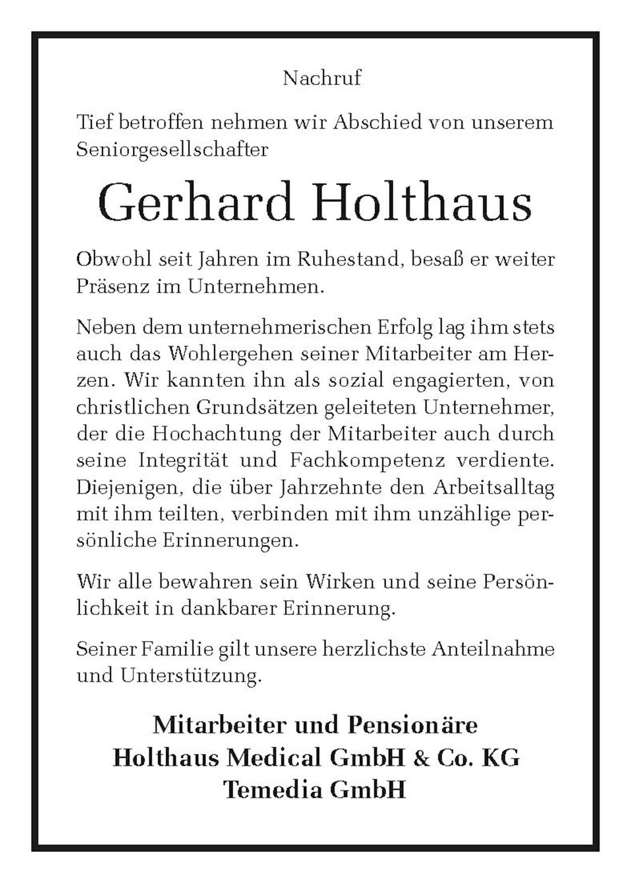Nachruf der Belegschaft Gerhard W. Holthaus