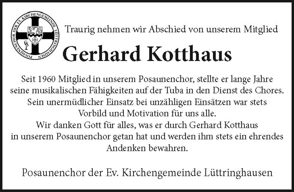 Nachruf Gerhard Kotthaus ev.Kirchengem. Lüttringhausen