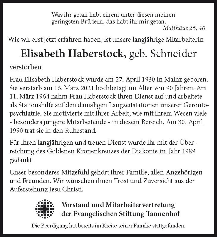 Nachruf Elisabeth Haberstock
