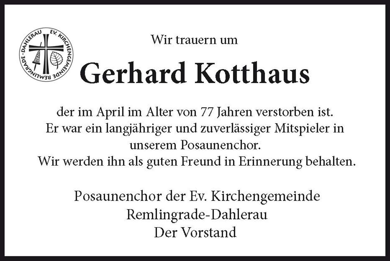 Nachruf Gerhard Kotthaus ev.Kirchengemeinde Remlingrade/ Dahlerau