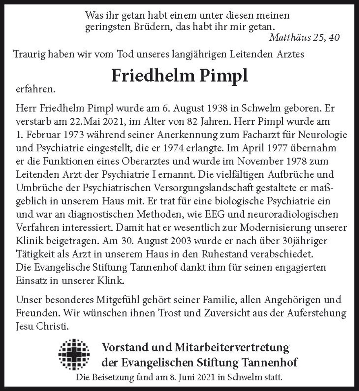 Nachruf Friedhelm Pimpl