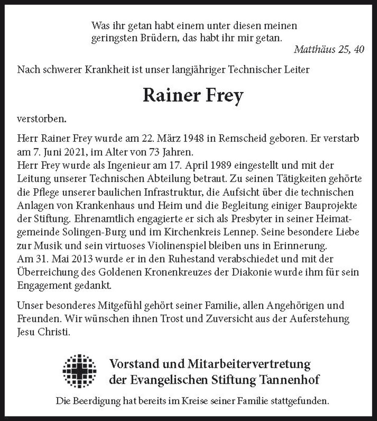 Nachruf Rainer Frey