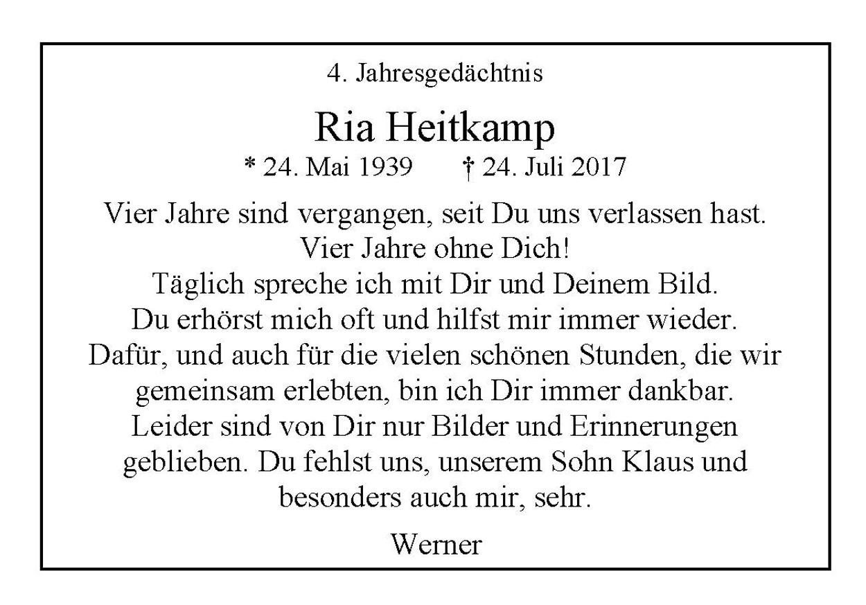 Ria Heitkamp, Jahresgedächtnis