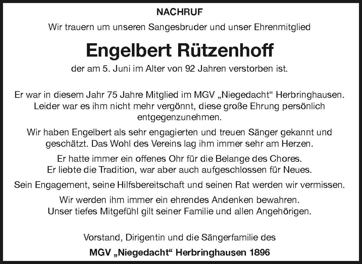 Engelbert Rützenhoff Nachruf MGV