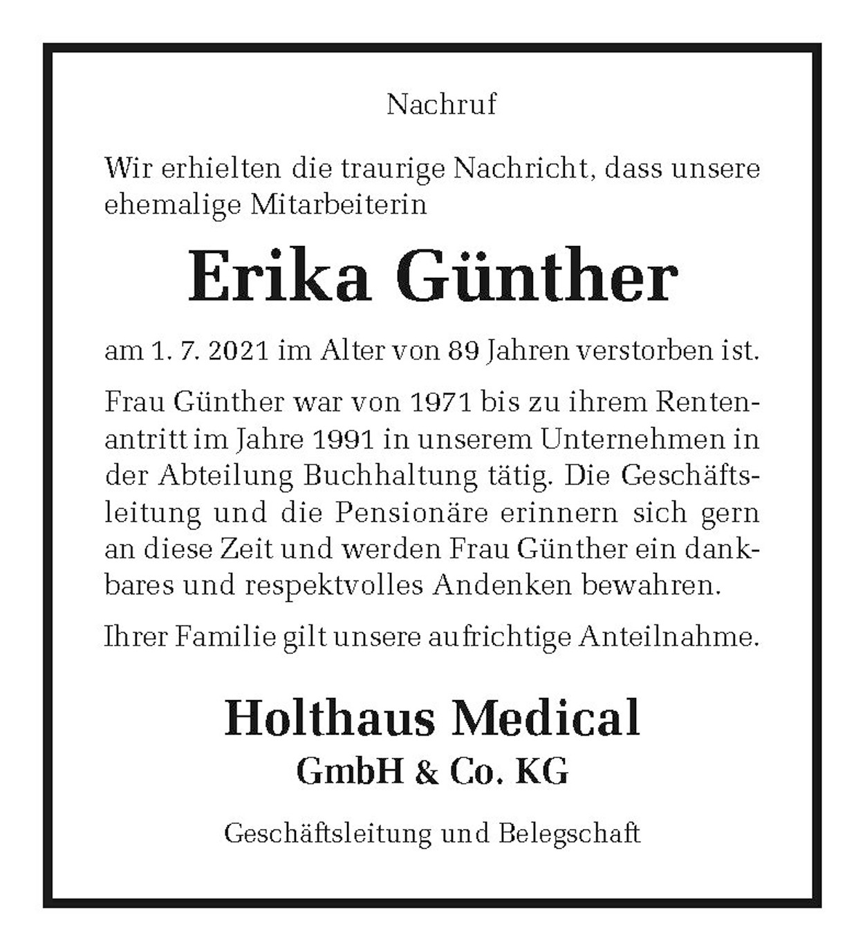 Nachruf Erika Günther ,der Holthaus Medical GmbH