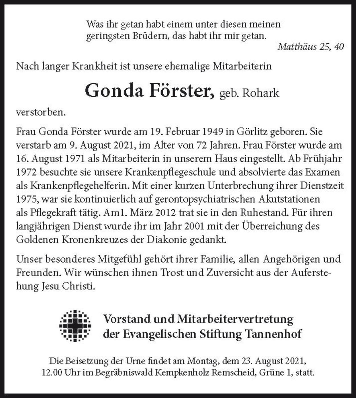 Nachruf Gonda Förster, der Stiftung Tannenhof