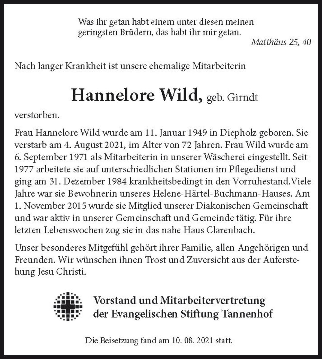 Nachruf Hannelore Wild, der Stiftung Tannenhof