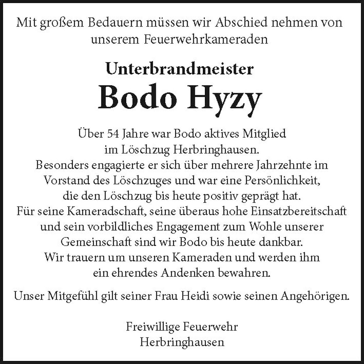 Bodo Hyzy , Nachruf FF Herbringhausen