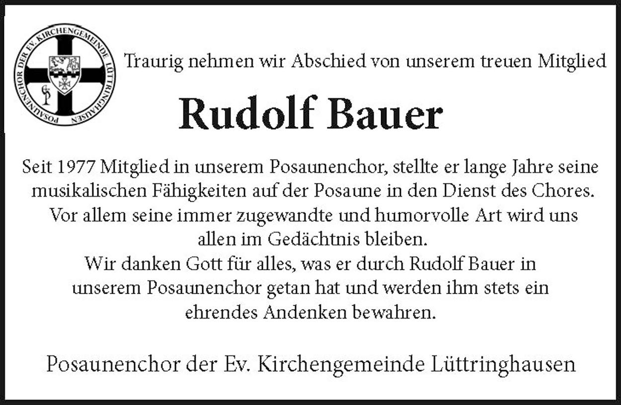 Nachruf Rudolf Bauer