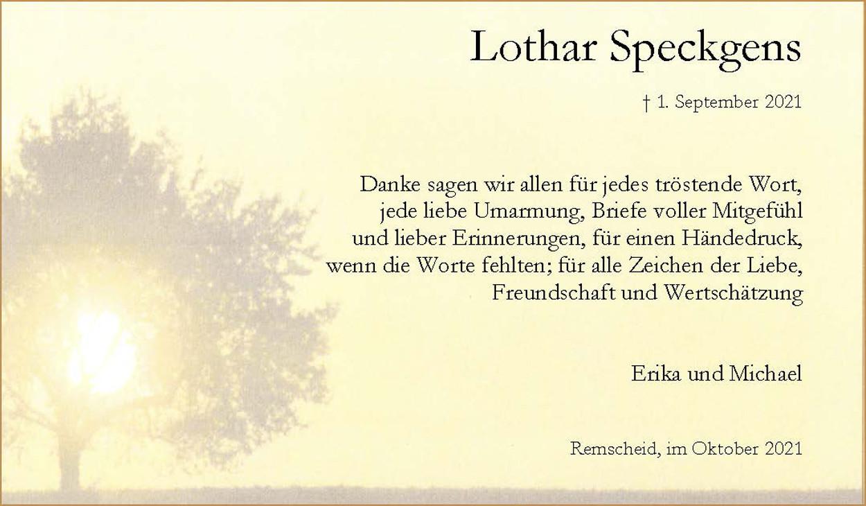 Dank Lothar Speckgens