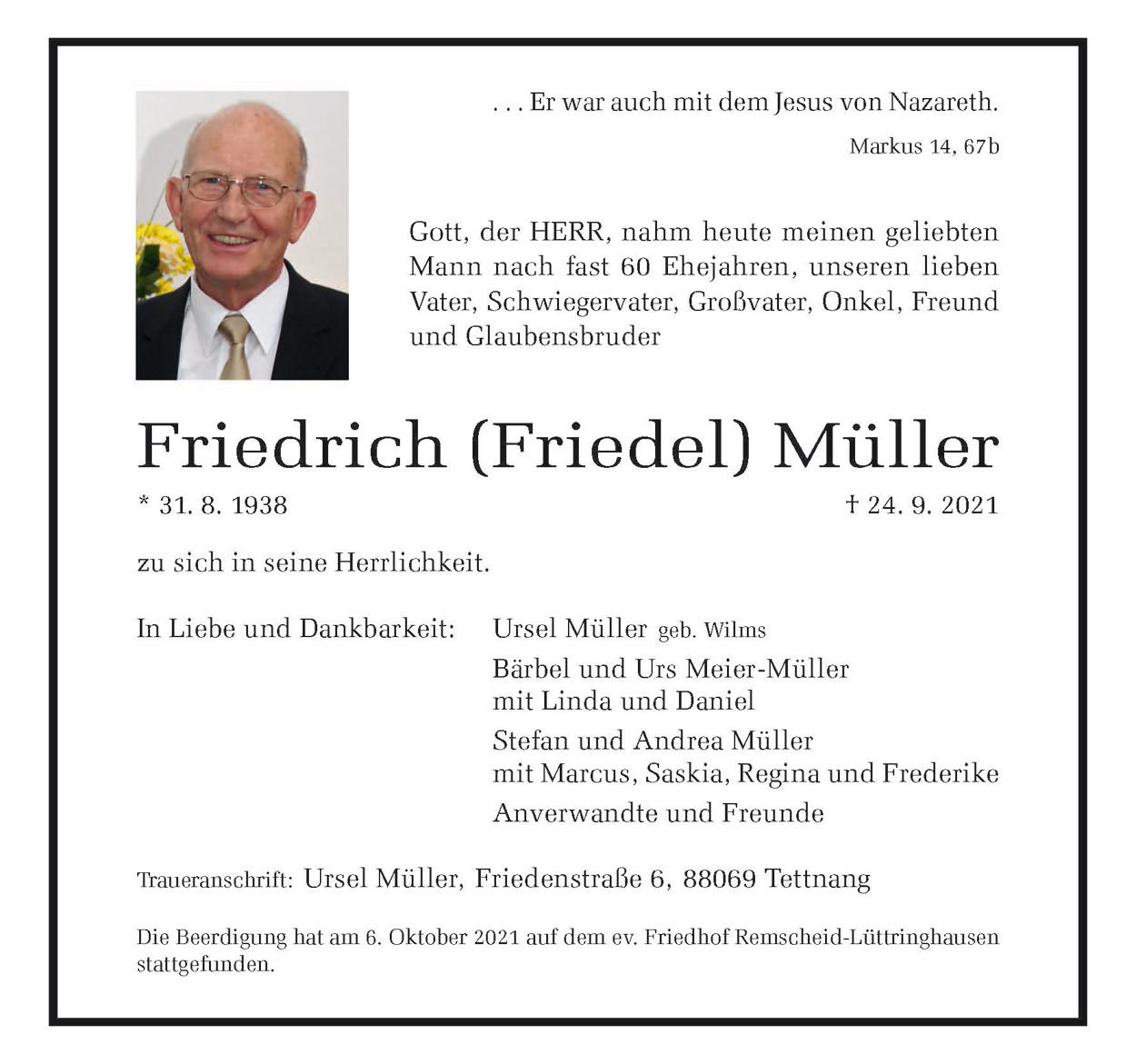 Friedrich ( Friedel ) Müller