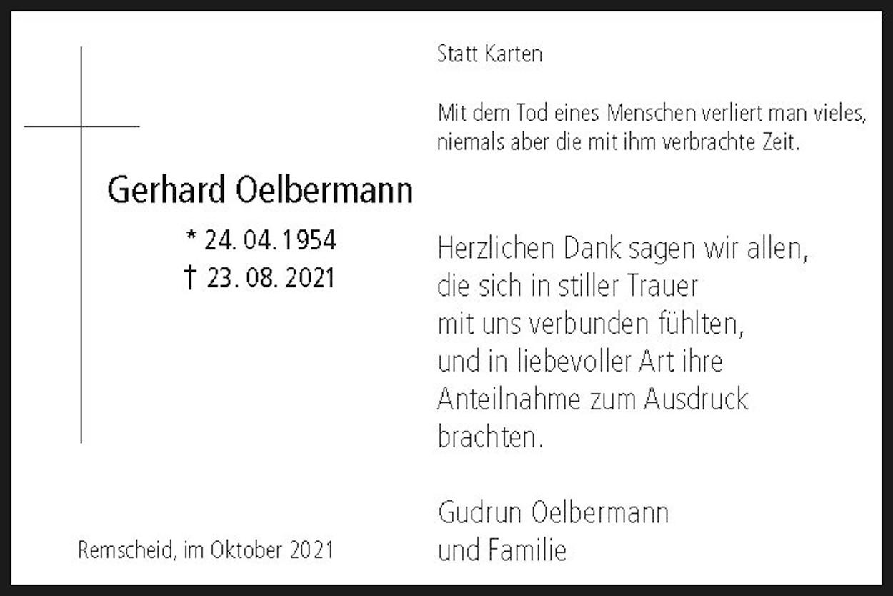 Dank Gerhard Oelbermann