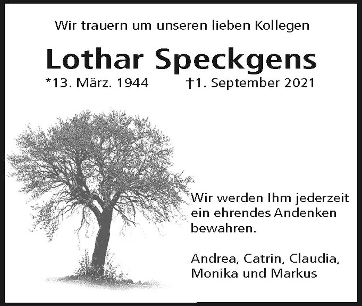 Nachruf Lothar Speckgens