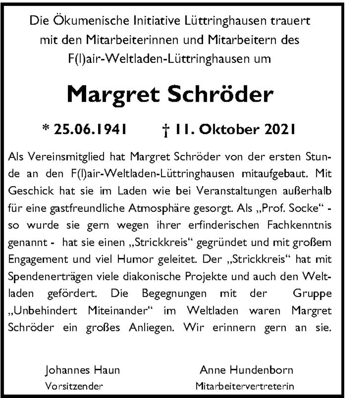 Nachruf Margret Schröder