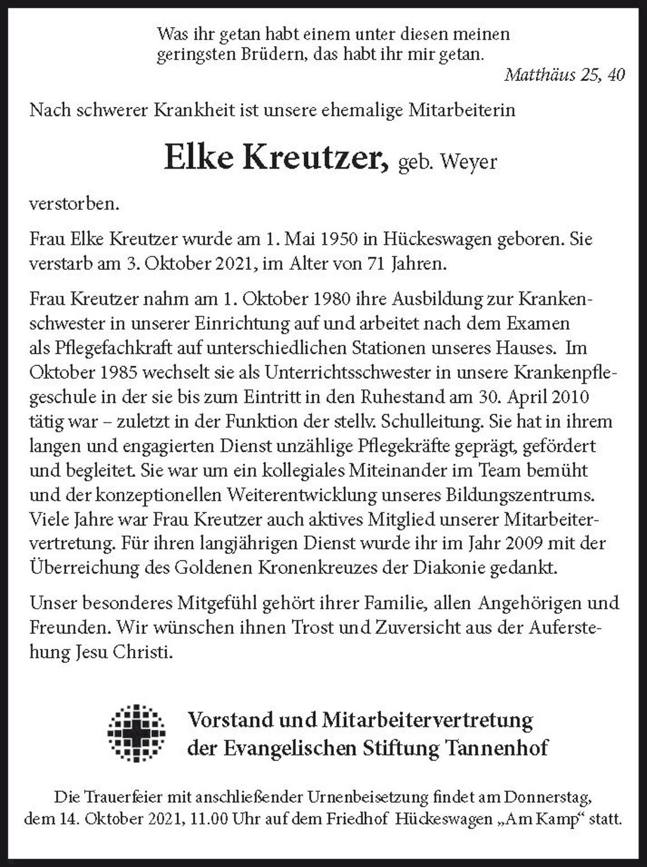Nachruf Elke Kreutzer